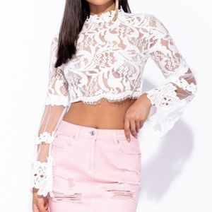 Tops - Lace Flared Sleeve Crop Top
